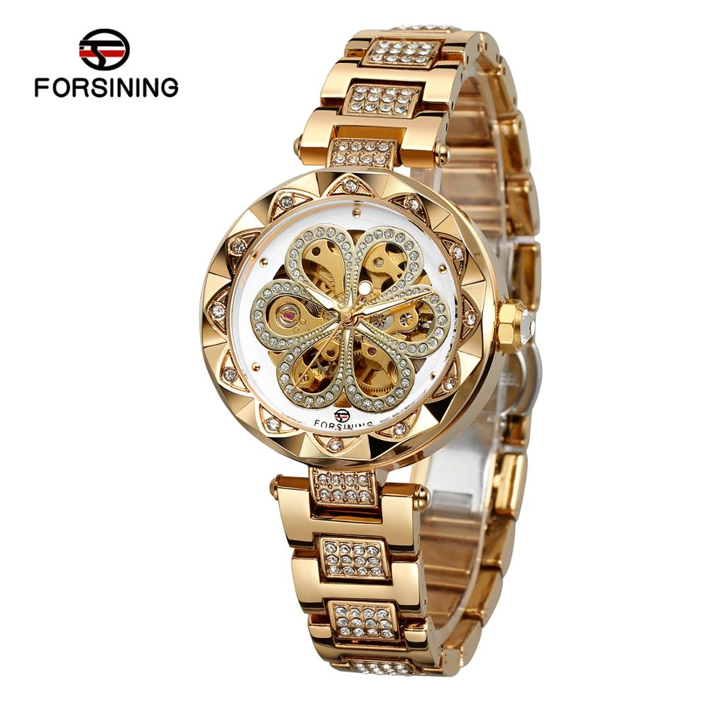 Forsining Women's Mechanical Automatic Skeleton Brightly Clear Stones Analog Dial Watch with Stainless Steel Bracelet FSL8188M4 enlarge