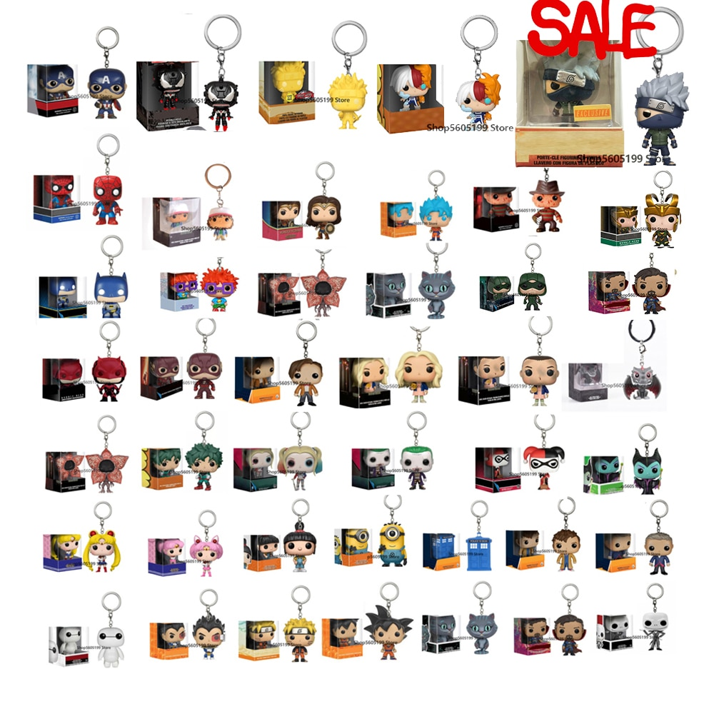 POP Keychain Harley Sailor Moon Captain America Venom Super Hero SHOTO TODORRKT NARUTO ALDDIN Collectible keychain With Box