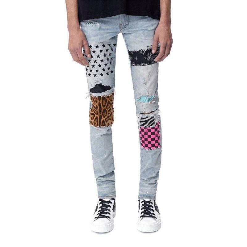 Американской уличной моды для мужчин джинсы светильник синие джинсы с эластичной резинкой на Slim Fit рваные джинсы с принтом Мужские патчи Ди...