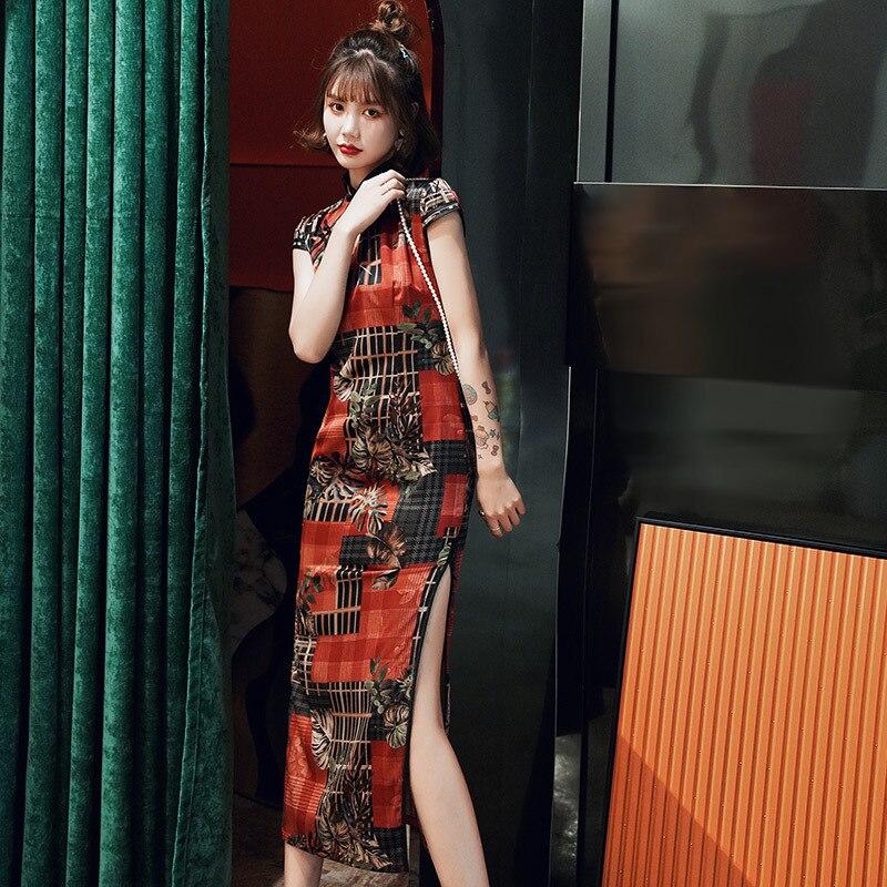Elegante Collar mandarín largo Cheongsam rojo Sexy alto Qipao dividido señora vestido de fiesta de noche nuevo estampado Vestidso tamaño grande