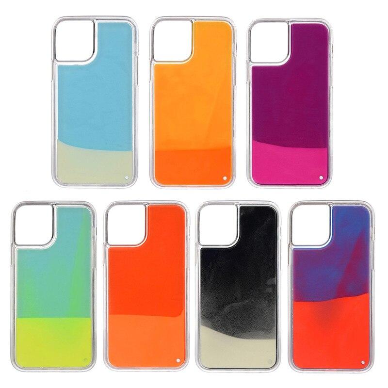 Luminous Neon Sand Cover Case for IPhone 11 Pro MAX Glow In The Dark Liquid Glitter Quicksand Case for Iphone 11 Pro Max