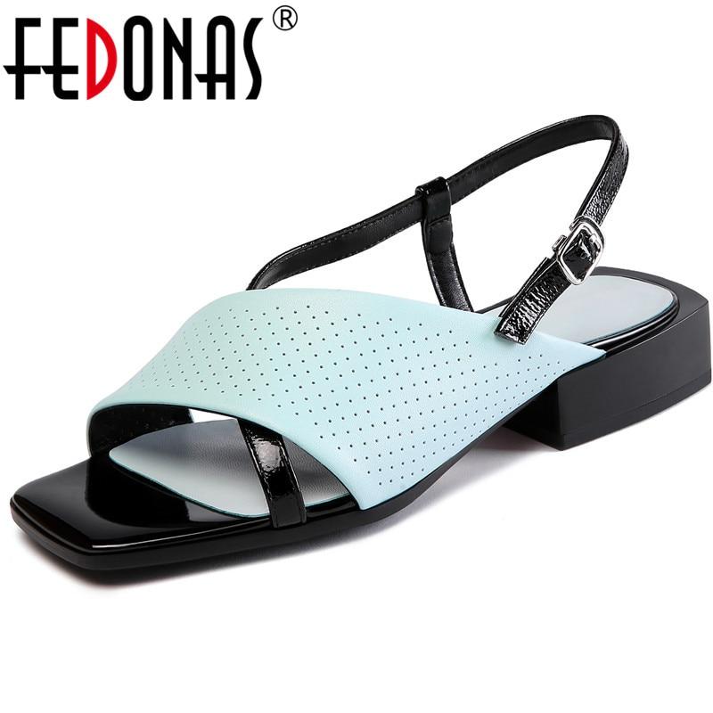 FEDONAS-صندل نسائي بكعب سميك ، أحذية صيفية بأشرطة خلفية من الجلد الطبيعي ، جودة عالية ، 2021