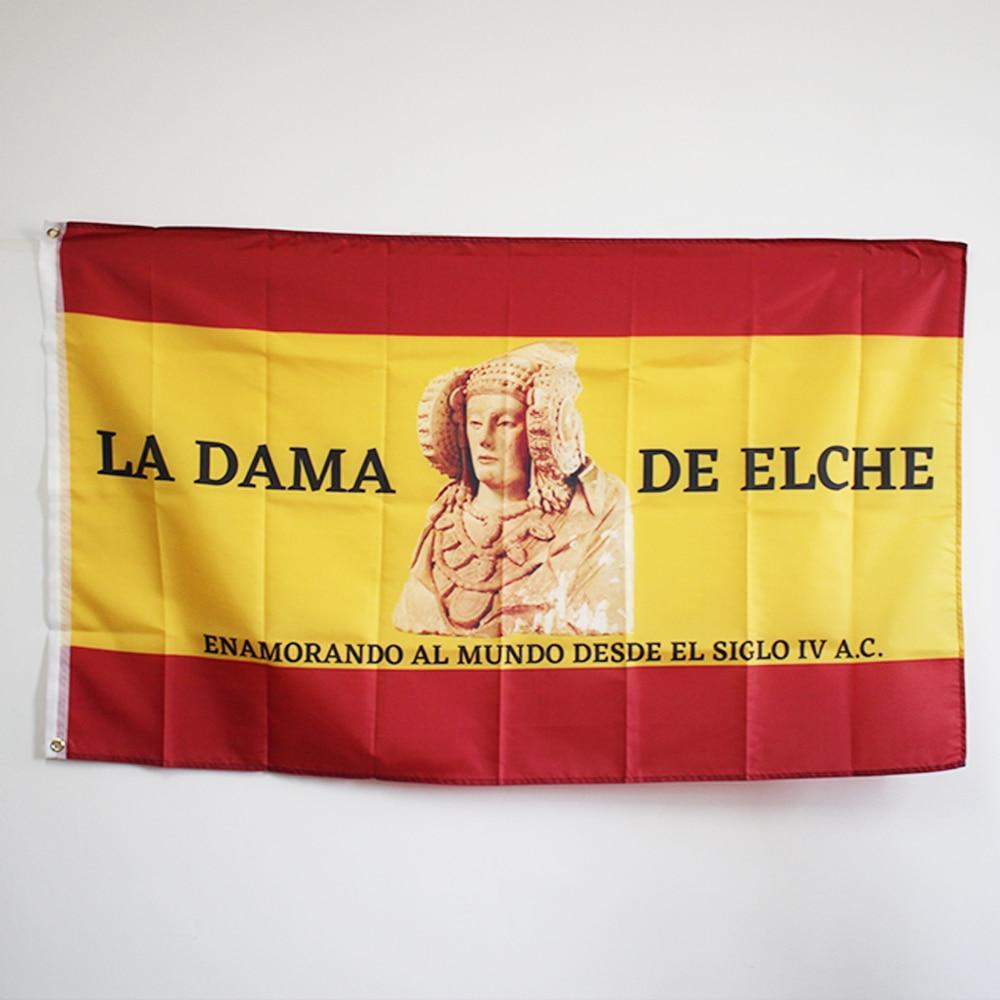 Bandera de España con la bandera de la señora de Elche, cartel...