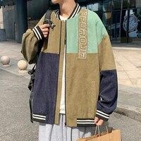 plus size 5xl casual mens baseball corduroy jacket autumn patchwork embroidery jackets men fashion coats outerwear overcoat