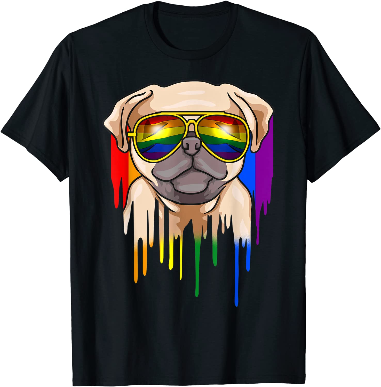 Cute Pug Wearing Rainbow Sunglasses T Shirt
