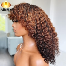 Aliafee Deep Curly 26inches Full Machine Made Wig With Bangs 180 Density Malaysia Remy Curly Human H