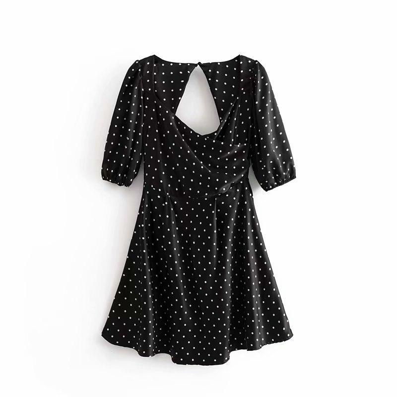 Dingding 55-9157 vestido cruzado con estampado de puntos de moda europea y americana