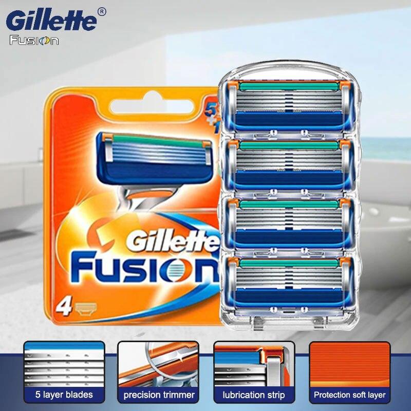 Gillette fusion 5 power lâminas de barbear cassettes satety navalha kit caso para homens barbear ferramentas para barba original