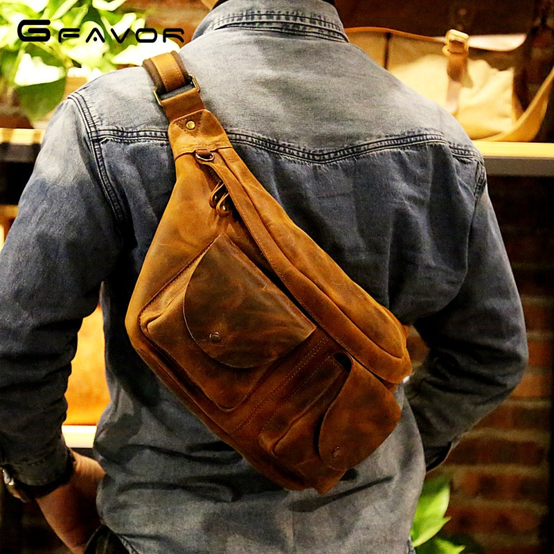 Fashion Men's Retro Multifunctional Chest Bag Outdoor Leisure Sports Messenger Bag Shoulder Bag Leather Cowhide Backpack