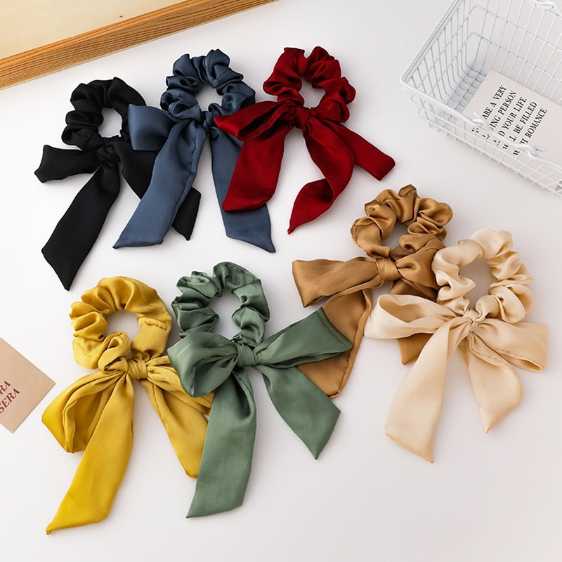 Bow Long Ribbon Solid Color Rubber Band Ponytail Hair Ties Korean Scrunchies Women Girls Elastic Hairbands New Hair Accessories 2pcs sweet charming long tail ribbon floral headband tie women boho double loop alice band hairbands