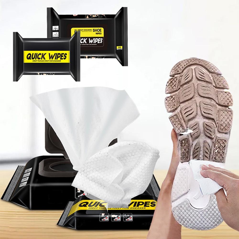 Toallitas limpiadoras de calzado desechables, toallitas húmedas y rápidas para limpiar zapatos, toallitas limpiadoras rápidas