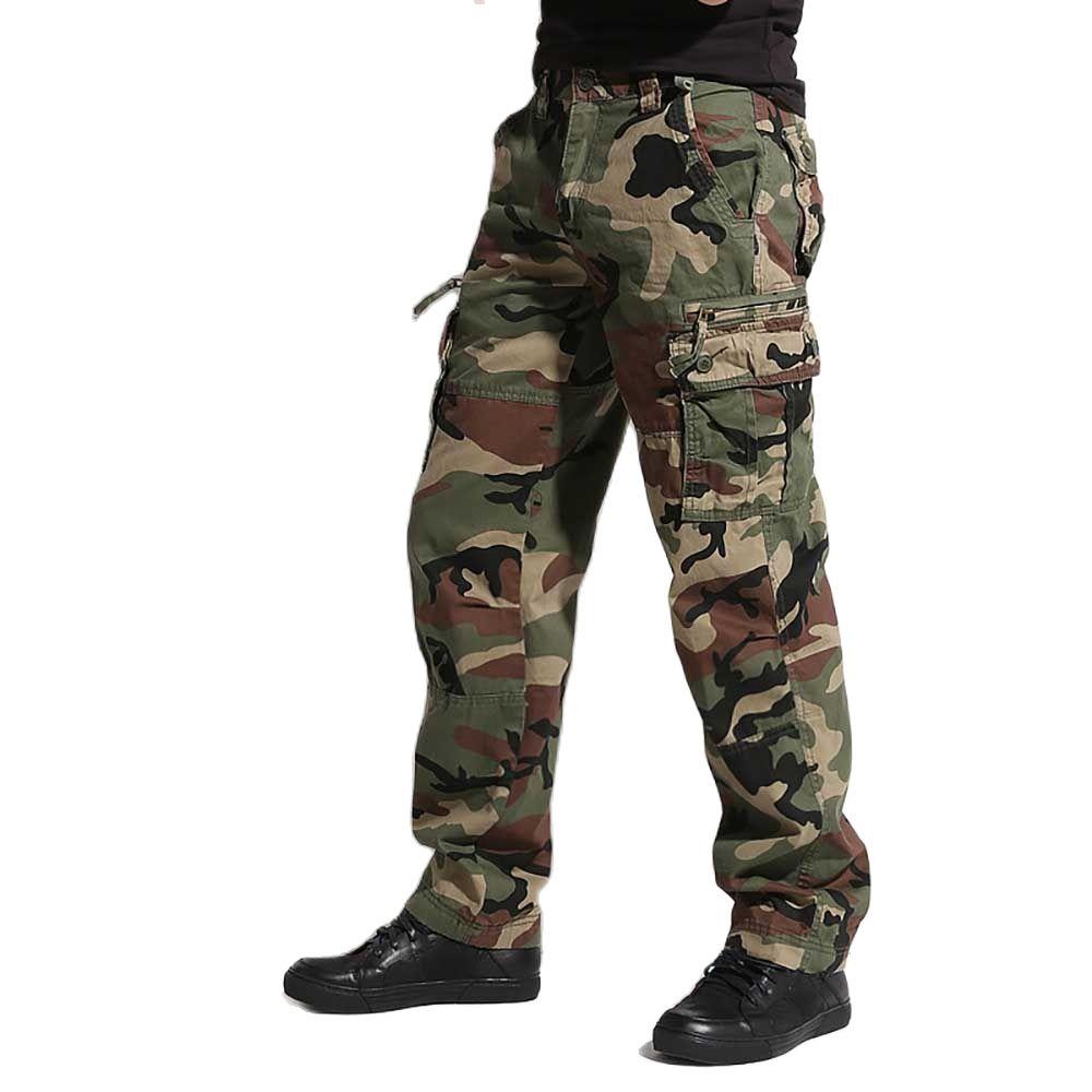 Брюки-карго в стиле милитари, Мужские штаны с карманами, свободные камуфляжные размера плюс штаны, мужская одежда
