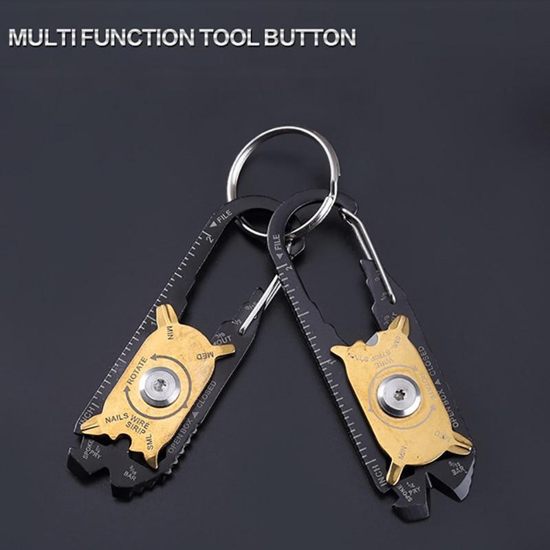 Al aire libre senderismo 20 en 1 EDC Acero inoxidable multifunción combinación herramienta portátil llavero Whetstone cuchillo destornillador llave