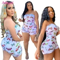 adogirl butterfly print strapless jumpsuit fashion sexy onesies summer women casual playsuit nightclub overall shorts romper