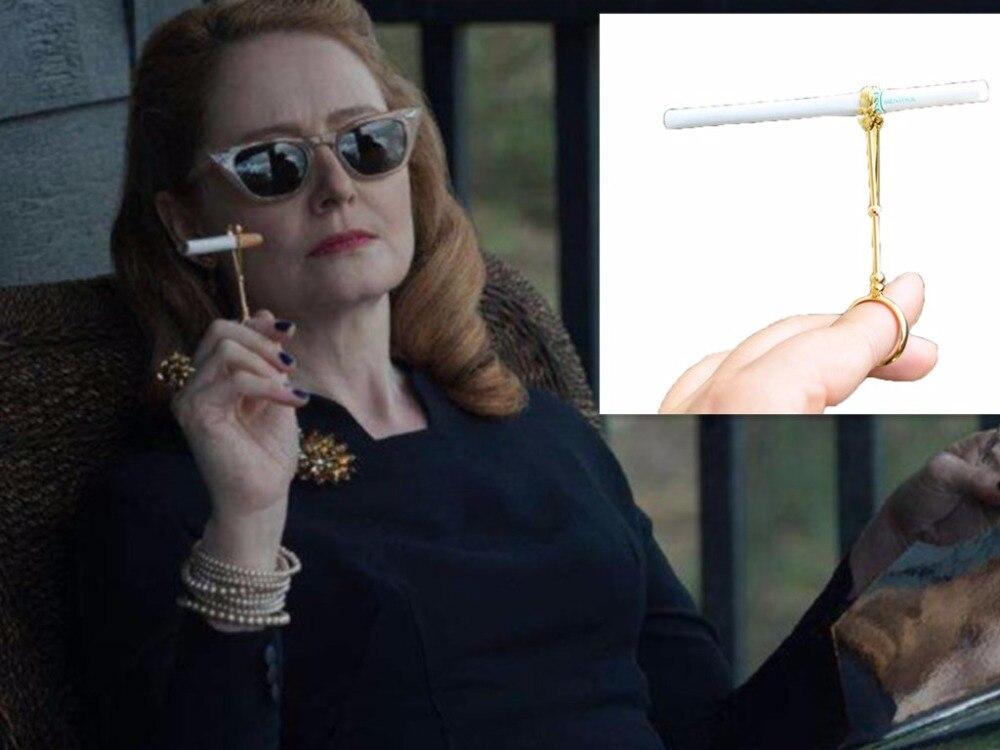 vintage Metal Ring Cigarette Holder Finger Cigarette Rack For Womens Slim Cigarette / Mans Regular Cigarette With gift box