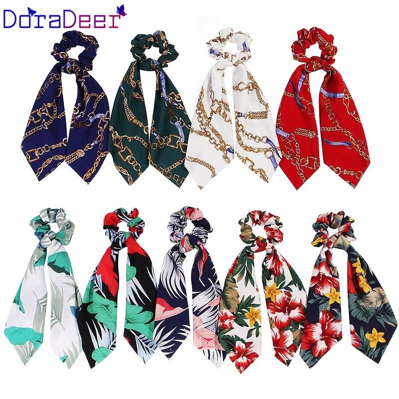 DoraDeer аксессуары для волос с цветочным принтом, эластичные банданы для волос кораллового цвета, женские резинки для волос