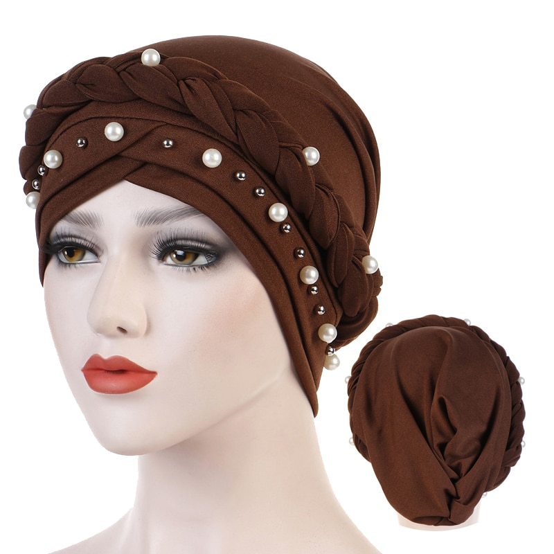 Muslim women for headscarf solid cotton turban bonnet hijab Caps white pearl Inner hijabs femme musulman arab wrap turbantes