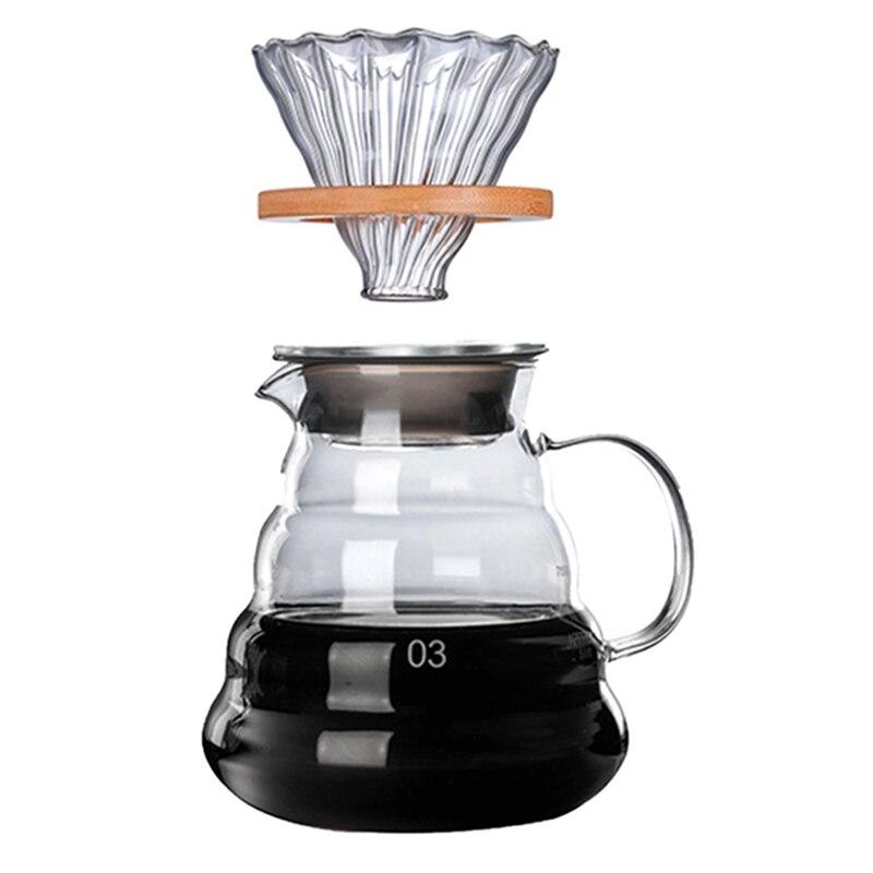 Filtro de Café de Vidro Suportes de Madeira 700ml do Filtro de Café do Estilo V60 do Conjunto do Dripper e do Potenciômetro do Café dos Suportes Reusável Japonês Madeira de