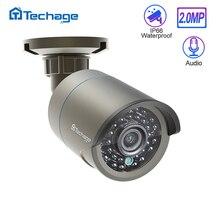 Techage H.265 1080P de sonido de Audio cámara IP POE 2MP impermeable vídeo de exterior de seguridad CCTV vigilancia ONVIF para sistema de POE NVR