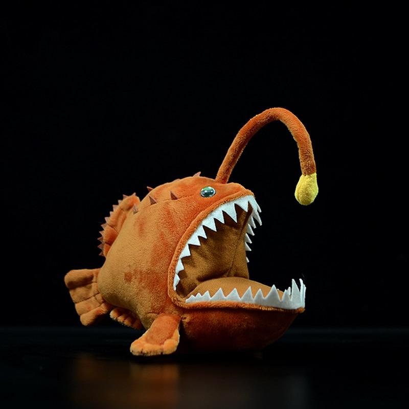 Original Soft Realistic Lantern Fish Plush Toy Simulation Monkfish Cute Lophiiformes Ocean Animal Do