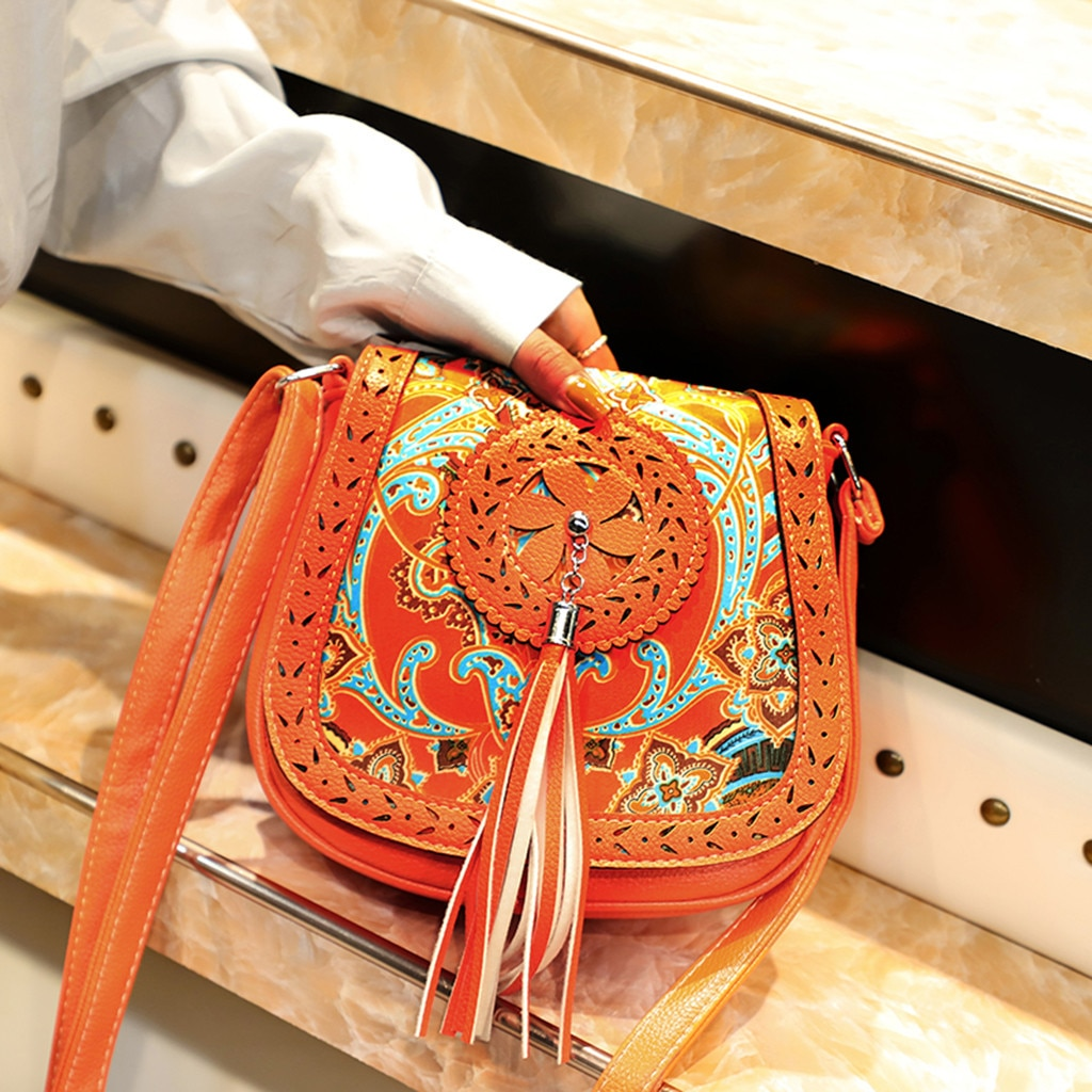 Women Ethnic Crossbody Bags Female Multi-Function Flip Tassel Shoulder Bags Girl Saddle Handbag Retro PU Leather Messenger Bag