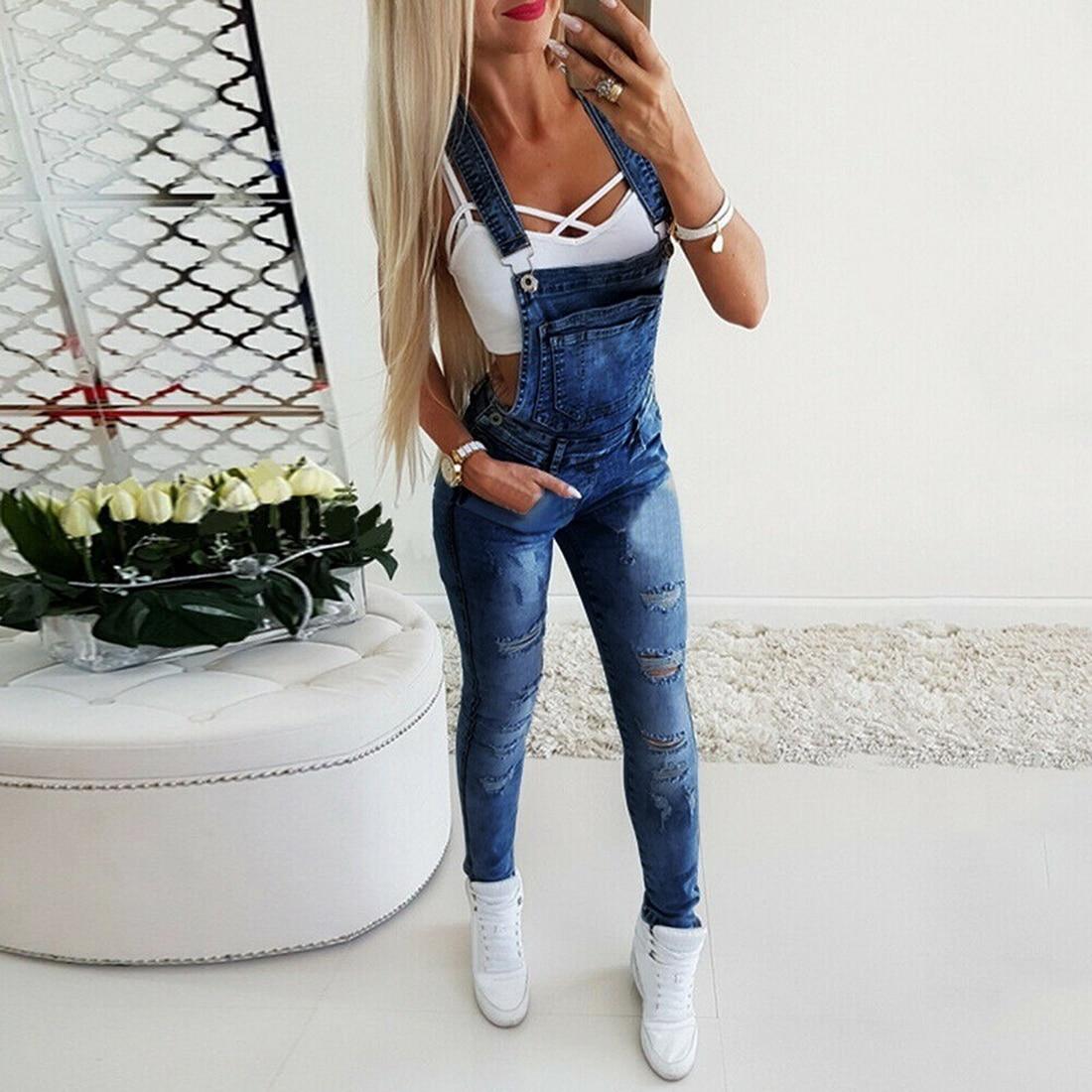 Moda feminina senhoras baggy jeans bib comprimento total sólido solto causal macacão calças verão quente