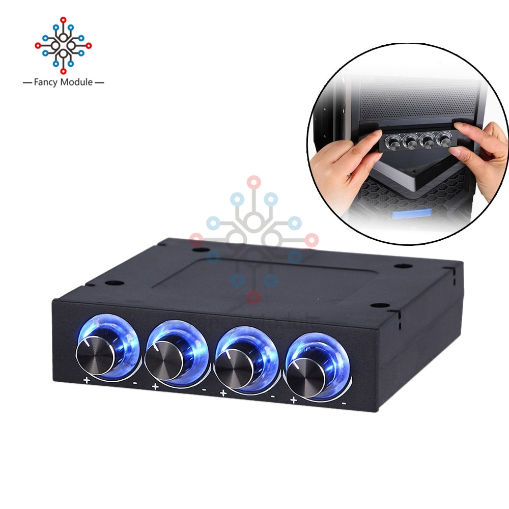 4 Channel Turn Knob Multi-Fan Cooling Controller Front Panel 3.5 4 Pin Connector CPU HDD Temp PC Fan Speed Controller