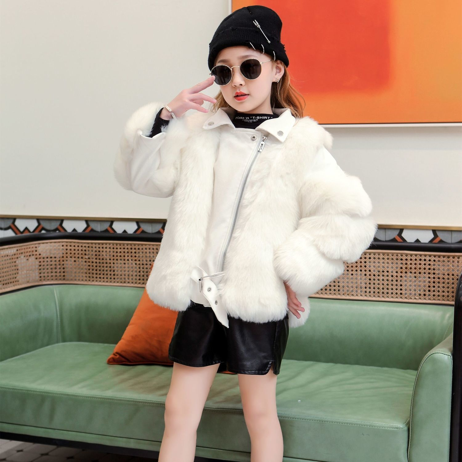 New 2021 Winter Fashion Baby Girls Outerwear & Coats Children's Faux Fur Girls Coat Kids Fake Fur Clothes Thick Warm Outwear D66 enlarge