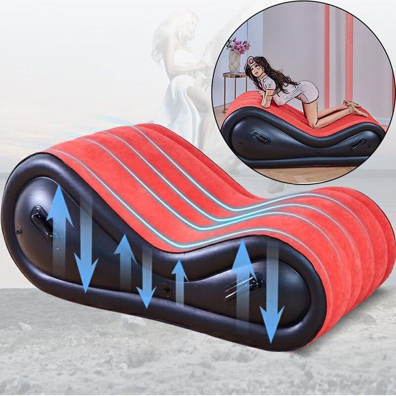 الحديث الجنس الأحمر أريكة هوائية قابلة للنفخ السرير للكبار زوجين الحب كرسي لعب مع 4 أصفاد شاطئ أثاث حديقة خارجي طوي