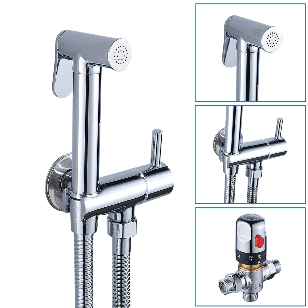 Bathroom Bidet Spray Set Kit Handheld Thermostatic Bidet Faucet Set Gun Nozzle Brass Toilet Shower Spray Bathroom Accessories