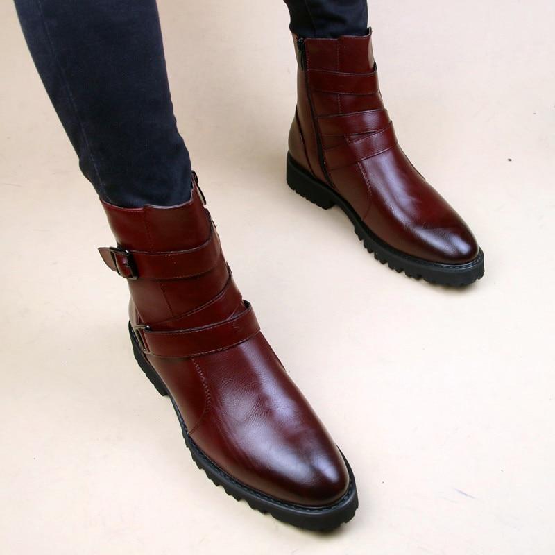الخريف الشتاء أحذية الرجال وأشار الأحذية الجلدية زائد الفراء الدافئة في الهواء الطلق حذاء من الجلد أحذية الخريف الشتاء حذاء رجالي
