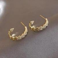u magical temperament triangle c shape geometric hoop earring for women shiny gold metal rhinestone earring jewelry pendientes