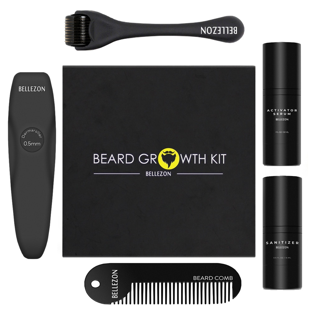 Bellenzon 4 Teile/satz Barbe Bart Wachstum Kit Haar Wachstum Enhancer Set Bart Wachstum Essentital Öl Gesichts Bart Pflege Bart Kit