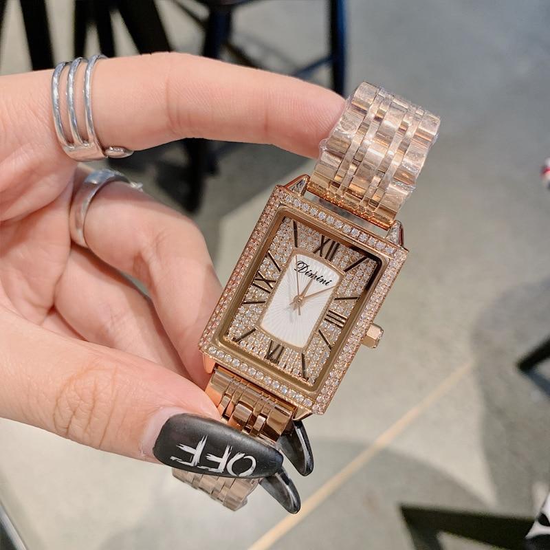New Rectang Gypsophila Diamond Women Watches Elegant Lady Casual Quartz Watch Women Stainless Steel Woman Watch dames horloges enlarge