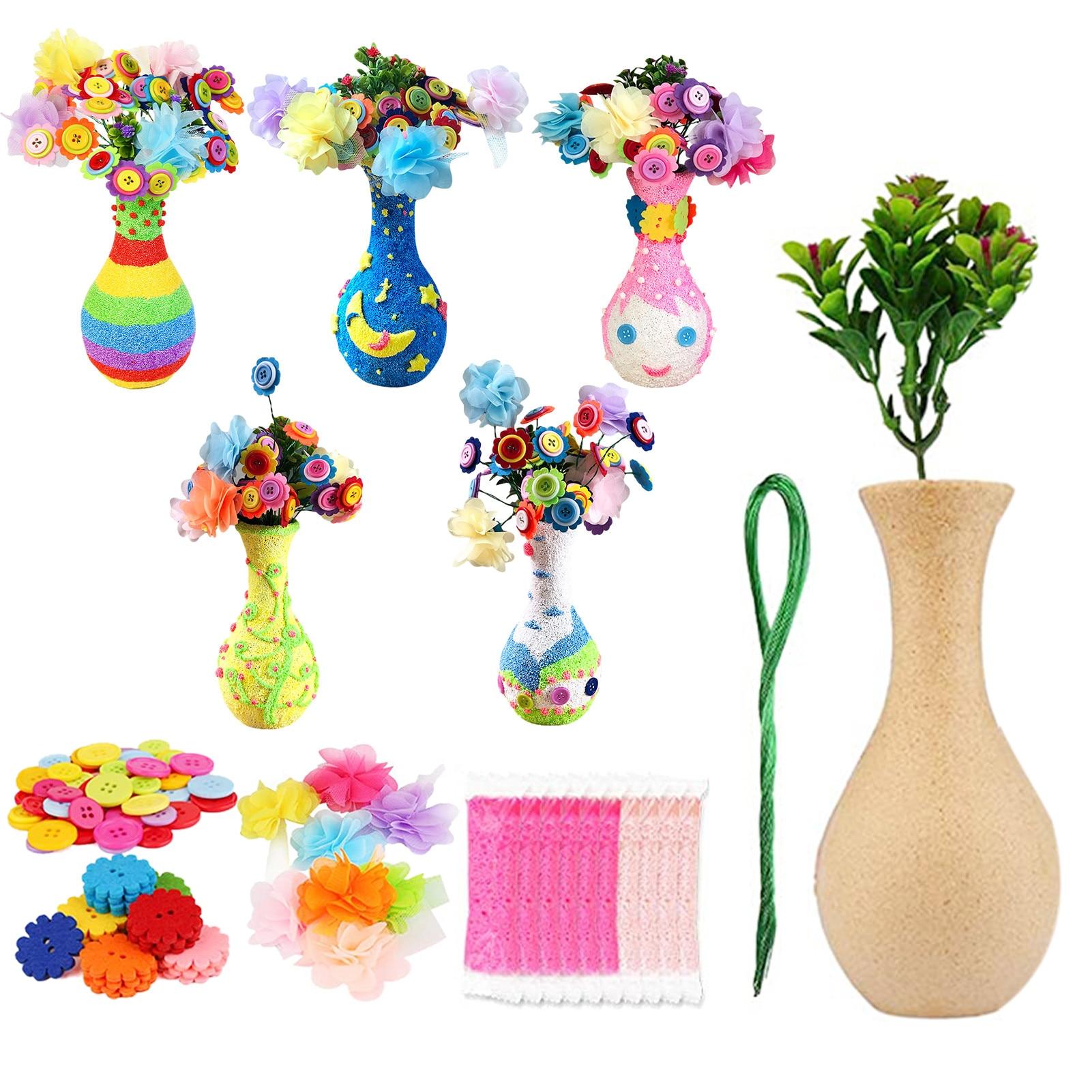 DIY Felt Toy Button Flower Craft Kits Kindergarten Kids Creative Toys Children Educational Handmade Gift Room Decoration