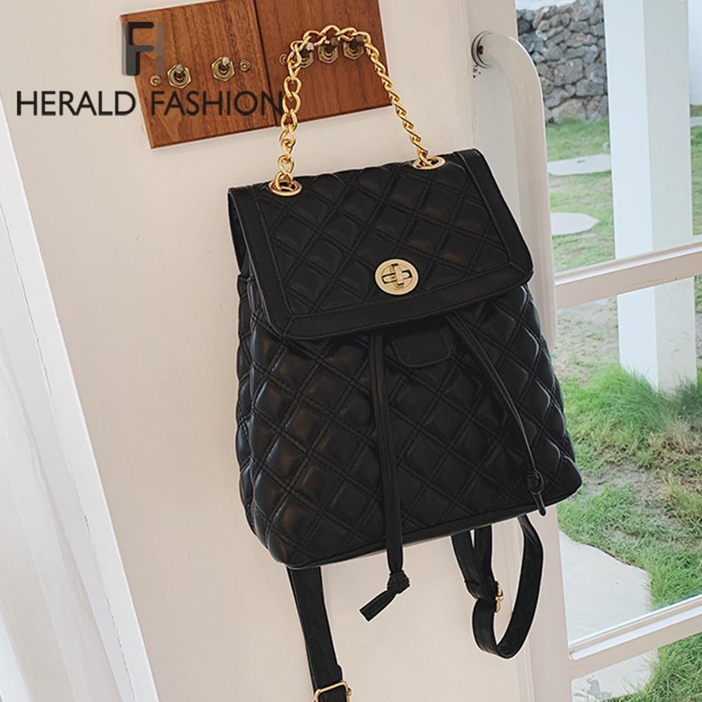 AliExpress - Herald Fashion Women Leather Backpack Plaid School Bag For Teenage Girls Vintage Chain Female Drawstring Travel Bagpack Mochila