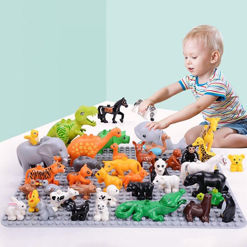 Grandes bloques de construcción de modelo de zoológico de partículas, accesorios de serie de animales, montaje creativo DIY para ladrillos para niños, juguetes, regalos para niños