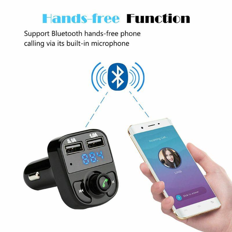2020 nuevo Bluetooth en el coche transmisor inalámbrico MP3 Radio adaptador coche Kit doble USB Auto