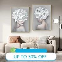Affiches de peinture sur toile avec fleur blanche pour fille  tableau dart mural pour decoration de salon  decoration de maison