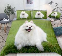 Housse de couette pour chien pomeranien 3D   Literie pour enfants, garçons et filles, tissu de maison, Animal mignon en 3 pièces, livraison directe