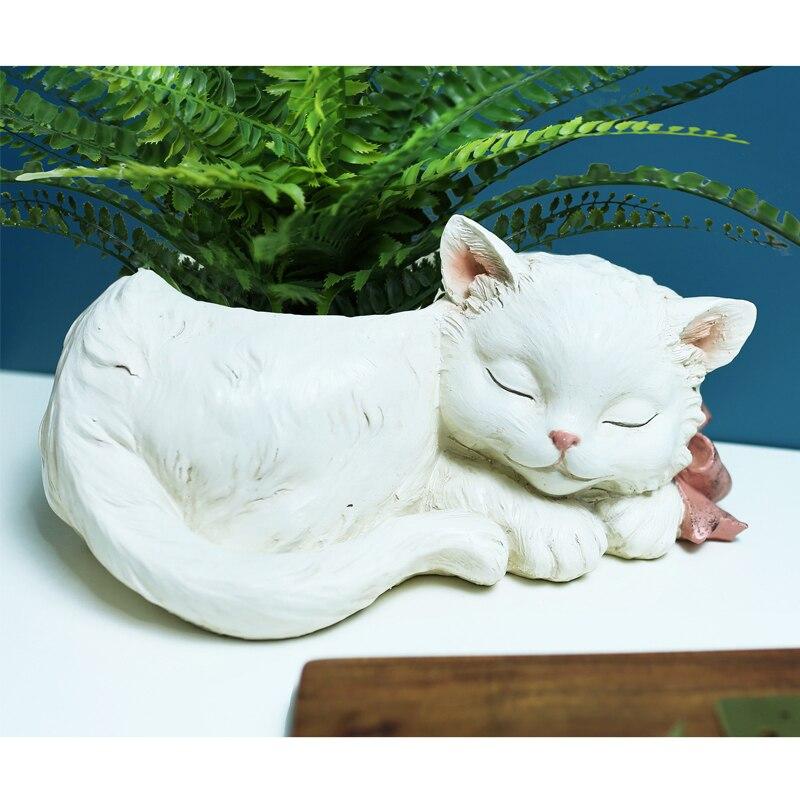 Figurita de Mini acuario, Adorable gato durmiendo acuarios, planta de agua, maceta para flores, almacenamiento de artículos diversos, organizador, pecera, decoración del hogar