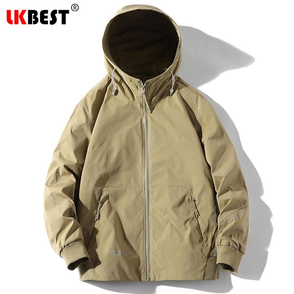 Простая просторная Мужская спортивная куртка, Мужская куртка с капюшоном, Мужская ветровка