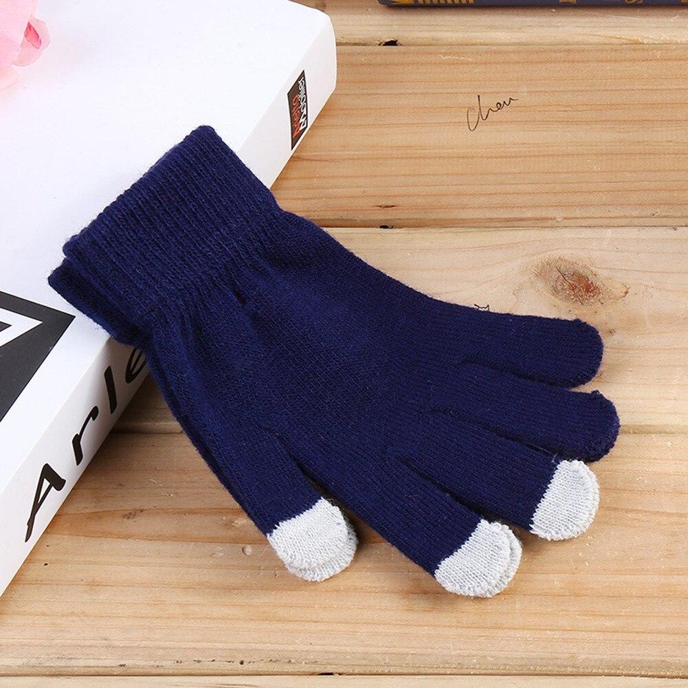 Зимние перчатки для сенсорных экранов, вязаные перчатки с закрытыми пальцами, женские мягкие вязаные крючком плотные мужские и женские мод...