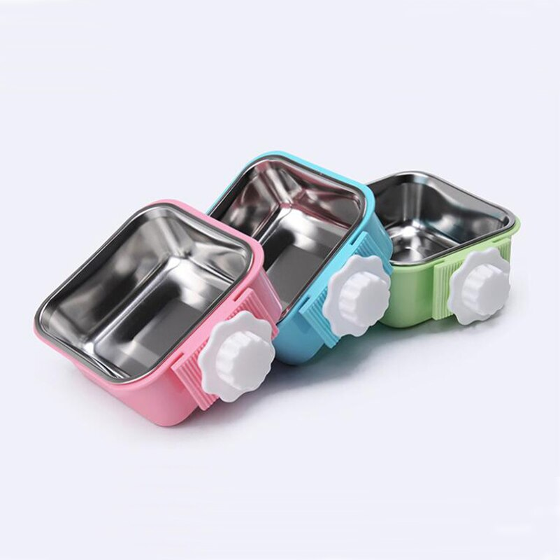 2 en 1 cuadrado pequeño gato perro alimentador colgante cuenco de acero inoxidable plástico ardilla conejo Guinea cerdo tazón de comida plato