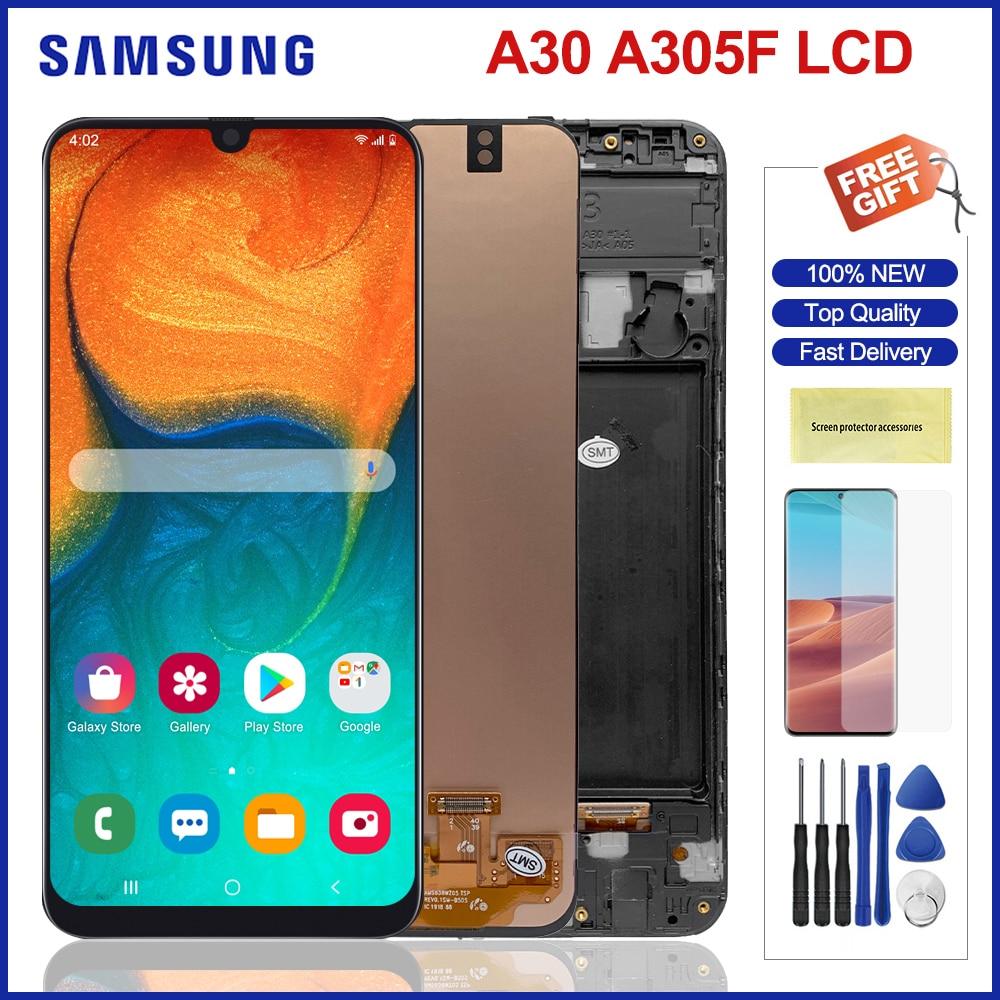 شاشة Lcd أصلية 6.4 بوصة لهاتف سامسونج جالاكسي A30 شاشة Lcd تعمل باللمس مع محول رقمي لشاشة سامسونج A305 A305F A305FN Lcds
