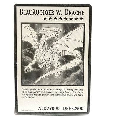 Yu-Gi-Oh DUOV Blue Eyes White Dragon Black and White Comic Style Extra Large Blue Eyes Watch Card (Out of print product)