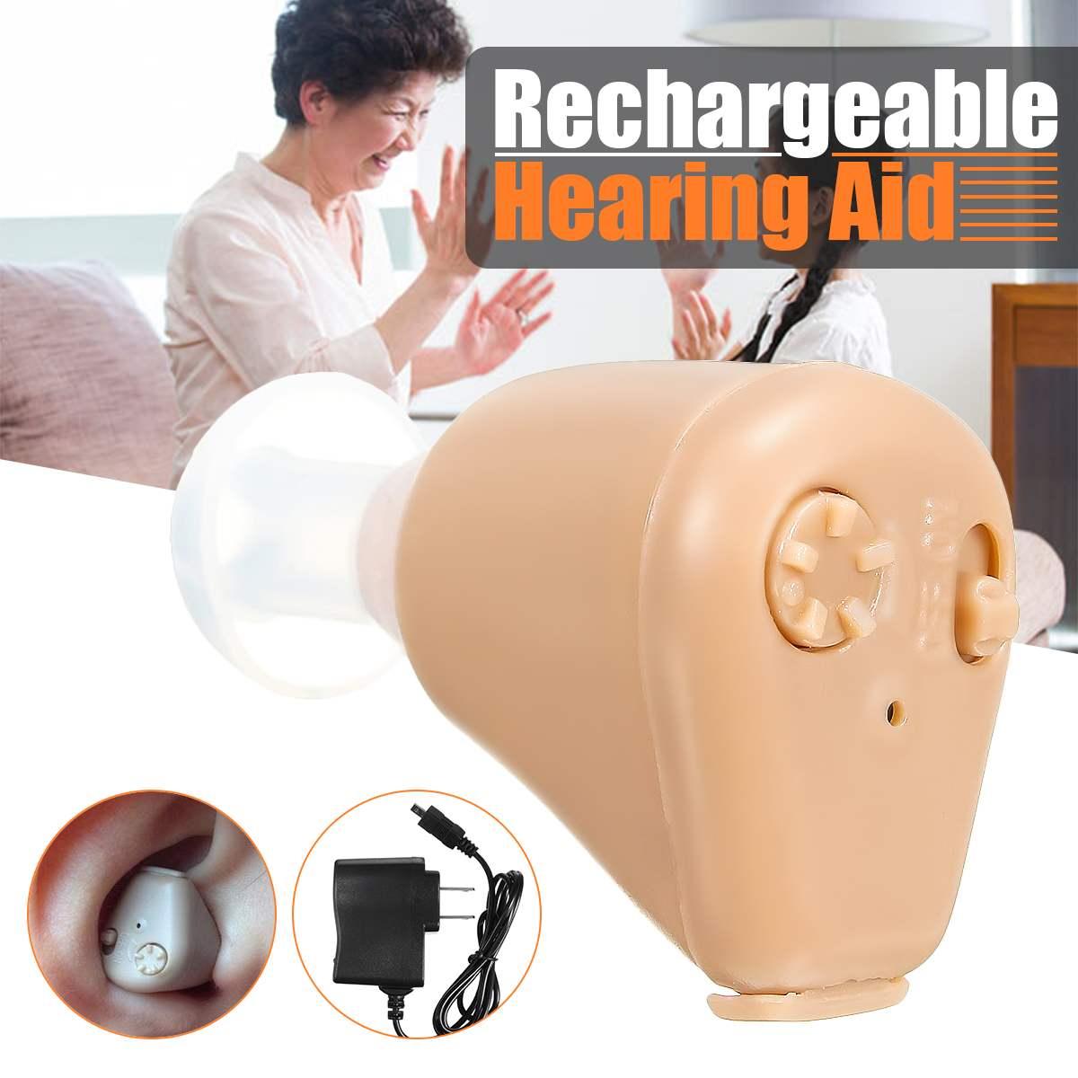 Mini audífono recargable de alta calidad amplificador de sonido de oído audífonos diminuto ayuda de voz recargable audífono Personal