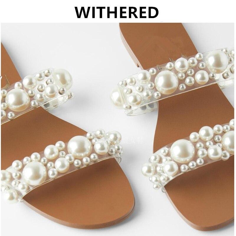 Ins murcho inglaterra elegante fashion blogger pérolas bandagem verão praia chinelos mulheres sapatos mulher sapatos femininos sapatos baixos