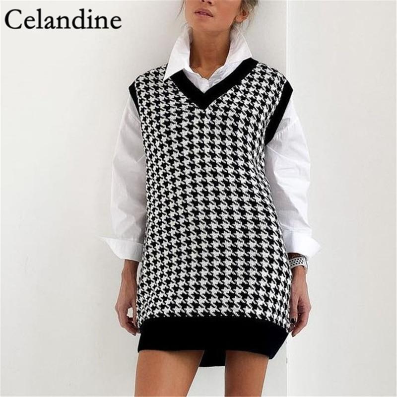 Celandine Houndstooth V Neck Oversized Knitted Sweater Vest Women Winter 2020 Casual Sleeveless Pullover Loose Jumper Jerseys