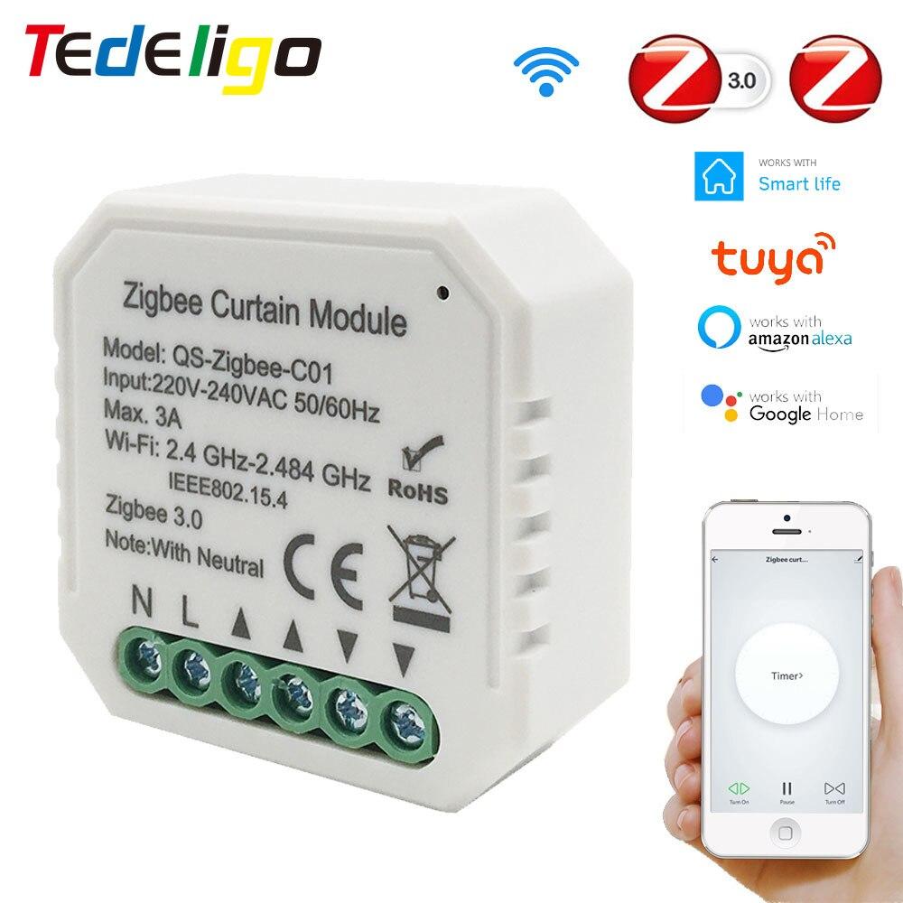 وحدة تبديل ستارة كهربائية ذكية Tuya Smart Life Zigbee ، 220 ~ 250 فولت ، لمصراع الأسطوانة ، والعمل مع Alexa و Google Home